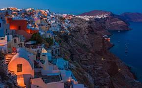 Картинка море, скалы, побережье, здания, дома, Санторини, Греция, Santorini, Oia, Greece, Эгейское море, Aegean Sea
