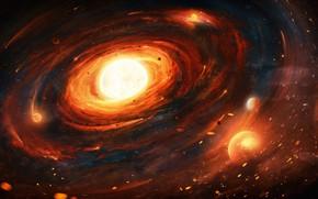 Картинка Солнце, Звезды, Пыль, Планета, Космос, Туманность, Стиль, Планеты, Искры, Воронка, Planets, Stars, Space, Planet, Sun, …