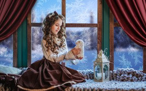 Картинка игрушка, кролик, окно, мороз, девочка, фонарь, плед, зайка, бантик, локоны, на подоконнике, Диана Липкина