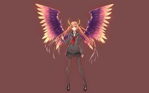 Картинка девушка, фон, крылья, ангел