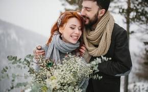 Картинка зима, девушка, снег, деревья, любовь, радость, цветы, природа, настроение, пара, парень, двое, улыбки, рыженькая, влюблённые, …