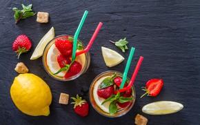 Картинка ягоды, лимон, клубника, стаканы, лимонад