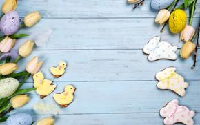 Картинка праздник, печенье, Пасха, wood, глазурь, Easter, композиция