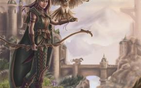 Картинка девушка, птица, фэнтези