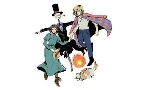 Картинка девушка, огонь, собака, аниме, арт, парень, Софи, персонажи, пугало, Ходячий замок Хаула, Howl's Moving Castle, …