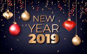 Картинка праздник, шары, Новый год, new year, Golden, Holiday, 2019, Confetti
