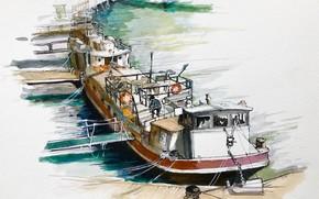 Картинка рисунок, баржа, авкварель, Набережная Сены