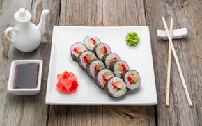 Картинка доски, рыба, палочки, рис, соус, икра, суши