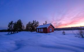 Картинка зима, закат, дом
