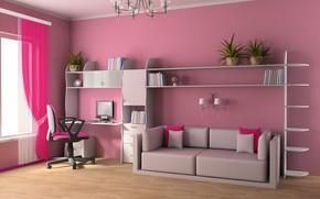 Обои дизайн, мебель, интерьер, детская комната