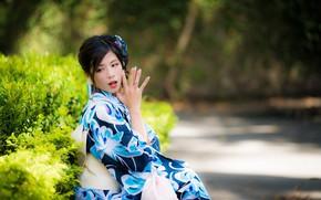 Картинка девушка, кимоно, азиатка