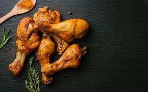 Картинка курица, ножки, чёрный фон, розмарин, карри, приправа, chiken