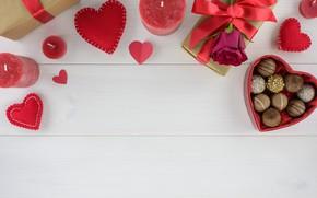 Картинка подарок, шоколад, розы, конфеты, сердечки, красные, red, love, wood, flowers, romantic, hearts, chocolate, valentine's day, …