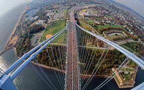 Картинка мост, Нью-Йорк, панорама, США, Веррацано-Нарроус
