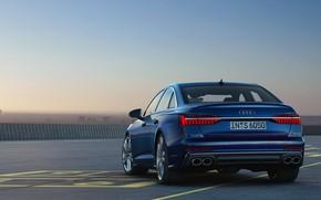Картинка синий, Audi, седан, корма, Audi A6, 2019, Audi S6