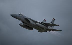 Картинка ВВС США, истребитель четвёртого поколения, F-15C, американский всепогодный, завоевания превосходства в воздухе, дноместный всепогодный истребитель