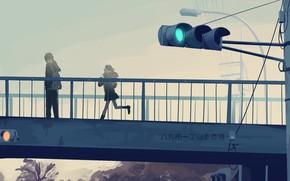 Картинка девушка, мост, светофор, парень
