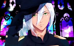 Картинка взгляд, арт, парень, белые волосы, Shokugeki no Soma