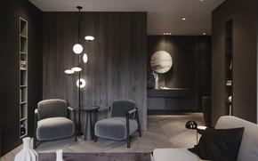 Картинка дизайн, стиль, интерьер, кресла, гостиная, concept interior modern style single home