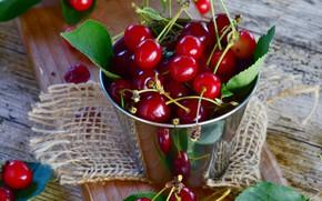 Картинка листья, вишня, ягоды