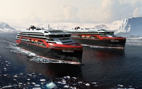 Картинка Зима, Океан, Море, Лайнер, Лед, Судно, Техника, Арктика, Рендеринг, Пассажирское судно, Ship, Vessel, Cruise Ship, …
