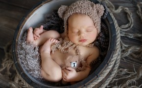 Картинка игрушка, сон, малыш, медвежонок, шапочка