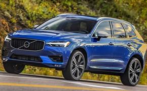 Картинка дорога, car, машина, синий, фары, Volvo, сбоку, blue, колёса, кроссовер, R-Design, XC60, Volvo XC60, Volvo …