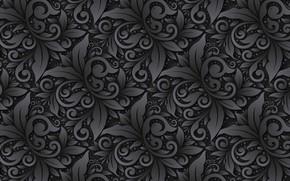 Картинка цветы, фон, узор, черный, орнамент