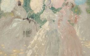 Картинка дамы, платья, Зонтики, Louis Icart