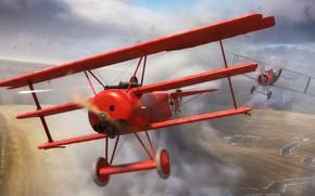 Картинка Истребитель, Биплан, Триплан, Первая Мировая война, Fokker DR.1, Ротативный двигатель