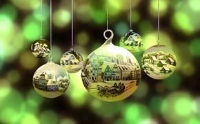 Картинка фон, шары, новый год, рождество, боке
