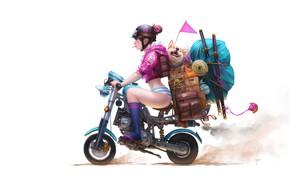 Картинка арт, прогулка, собачка, путешествие, Wenjuinn Png, Momoko Moving