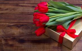 Картинка любовь, цветы, подарок, букет, лента, тюльпаны, красные, red, love, flowers, romantic, tulips, valentine's day, gift …