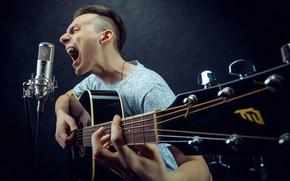 Обои парень, горлопан, гитара, микрофон