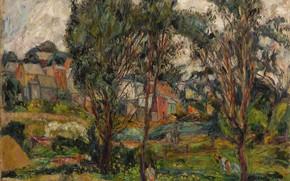 Картинка деревья, провинция, Abraham Manievich, TOWNSCAPE WITH TREES