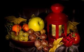 Обои осень, листья, яблоко, виноград, фонарь, мандарины, натюрмотр