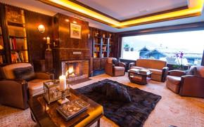 Картинка комната, книги, интерьер, подушки, свечи, окно, кресла, камин, плед, стенка, гостиная, полки, столики