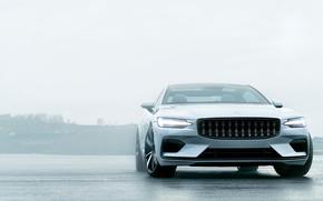 Картинка машина, авто, Volvo, Вольво, белая, Hybrid, гибрид, Volvo Polestar 1