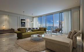 Картинка интерьер, Miami, гостиная, Luxury in Brickell