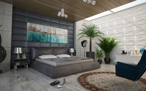 Картинка лампы, комната, кровать, кеды, интерьер, ковёр, кресло, спальня