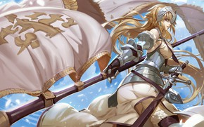 Картинка девушка, улыбка, флаг, ткань, Fate/Apocrypha, Fate - Apocrypha, Joan of Arc, Судьба Апокриф