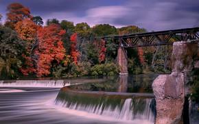 Картинка осень, мост, река, Канада