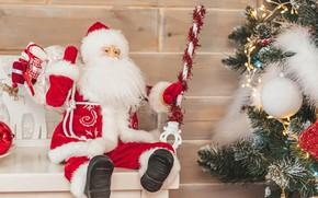 Картинка праздник, шары, игрушки, новый год, ёлка, дед мороз, гирлянда, боке