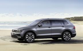 Картинка песок, небо, серый, берег, Volkswagen, Tiguan
