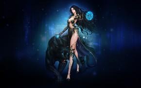Картинка Девушка, Кошка, Кот, Стиль, Girl, Магия, Пантера, Beautiful, Маг, Style, Фантастика, Cat, Fiction, Фигура, Красивая, …