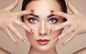 Картинка взгляд, девушка, лицо, фото, модель, руки, макияж, маникюр, Oleg Gekman