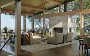 Картинка интерьер, веранда, гостиная, Hillside House, Lake Flato