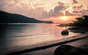 Картинка beach, sunset, island, sand, shore, pier, vacation, travel, hut