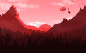 Картинка Закат, Солнце, Горы, Лес, Парашютисты