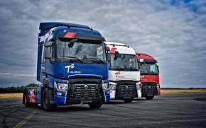 Картинка небо, асфальт, облака, грузовики, Renault, тягачи, 4x2, Renault Trucks, T-series